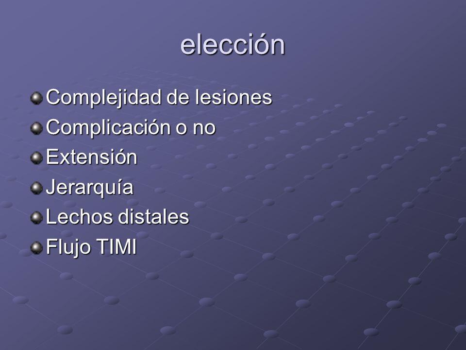 elección Complejidad de lesiones Complicación o no ExtensiónJerarquía Lechos distales Flujo TIMI