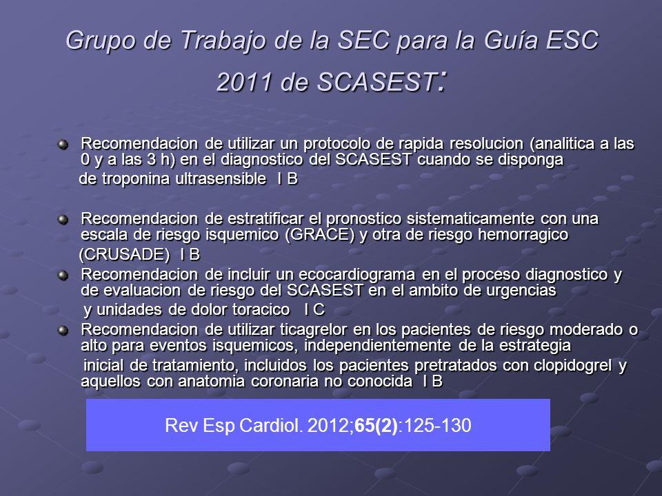 Grupo de Trabajo de la SEC para la Guía ESC 2011 de SCASEST : Recomendacion de utilizar un protocolo de rapida resolucion (analitica a las 0 y a las 3