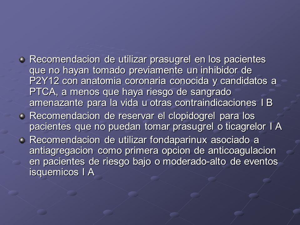 Recomendacion de utilizar prasugrel en los pacientes que no hayan tomado previamente un inhibidor de P2Y12 con anatomia coronaria conocida y candidato