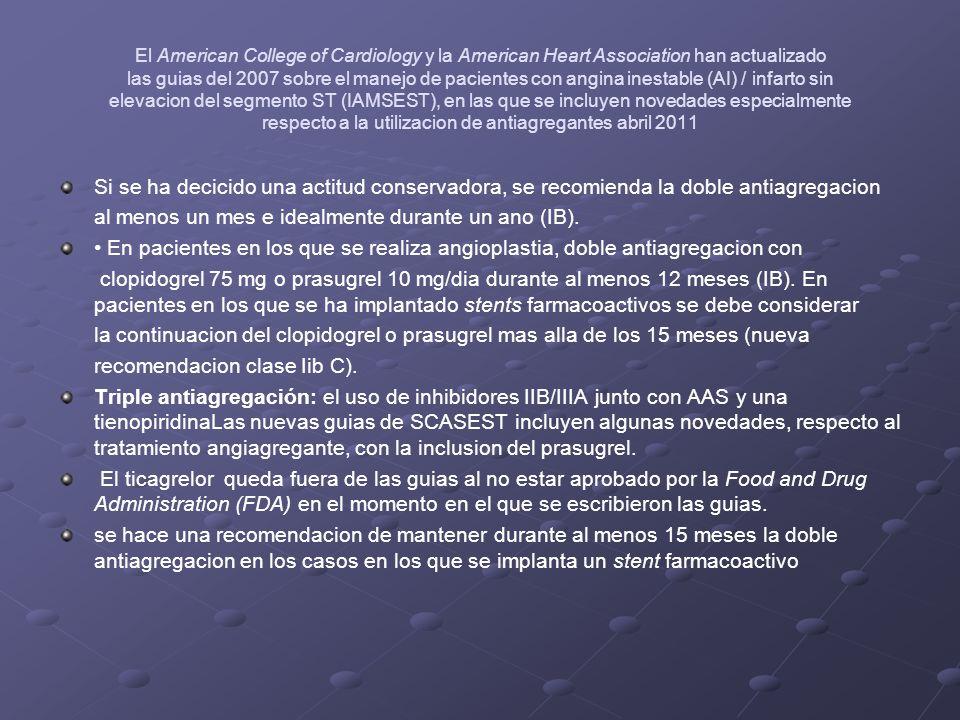 El American College of Cardiology y la American Heart Association han actualizado las guias del 2007 sobre el manejo de pacientes con angina inestable