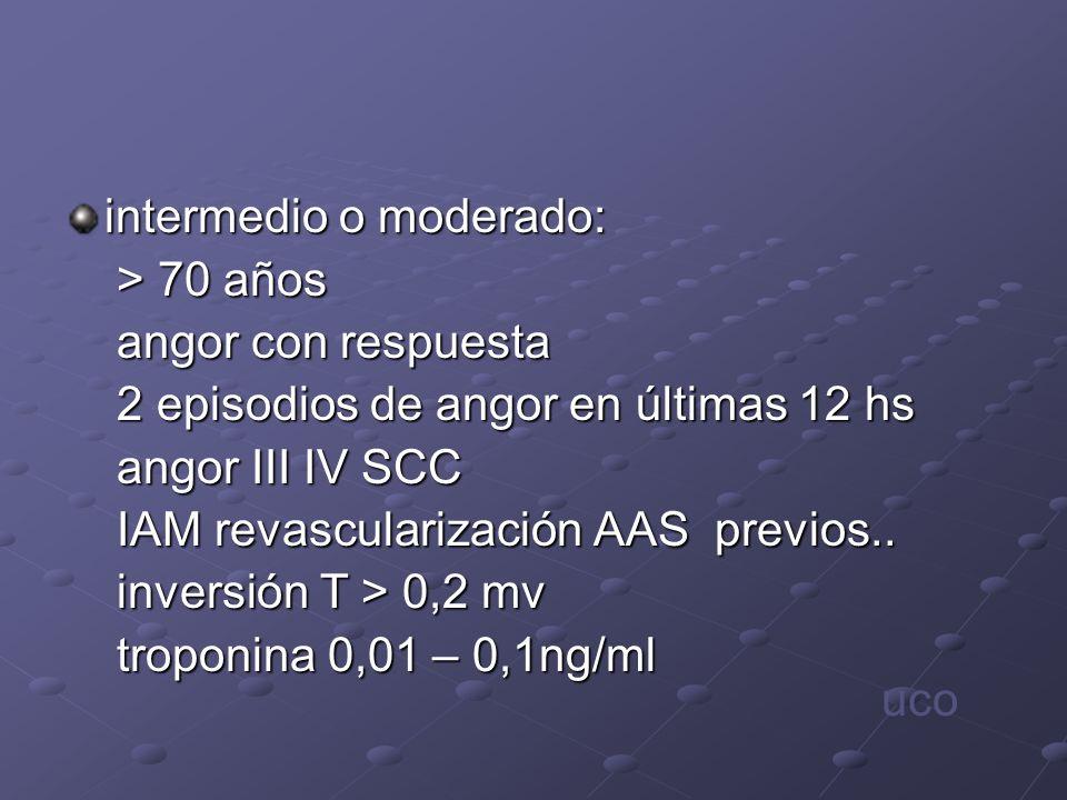 intermedio o moderado: > 70 años > 70 años angor con respuesta angor con respuesta 2 episodios de angor en últimas 12 hs 2 episodios de angor en últim