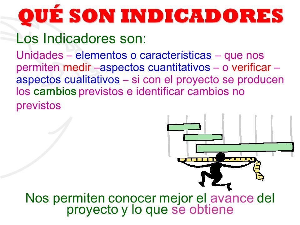 1 QUÉ SON INDICADORES Los Indicadores son : Unidades – elementos o características – que nos permiten medir –aspectos cuantitativos – o verificar – as