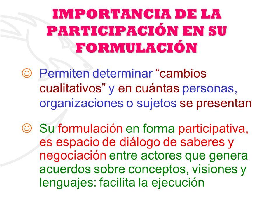 11 Permiten determinar cambios cualitativos y en cuántas personas, organizaciones o sujetos se presentan Su formulación en forma participativa, es esp
