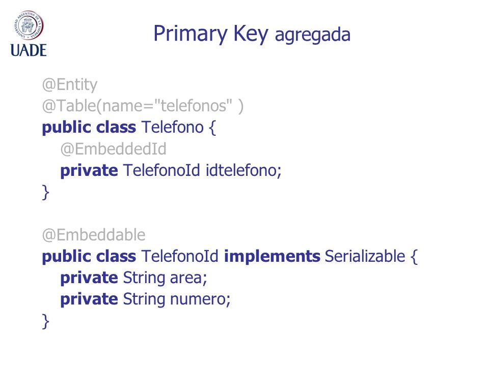 Primary Key agregada @Entity @Table(name=