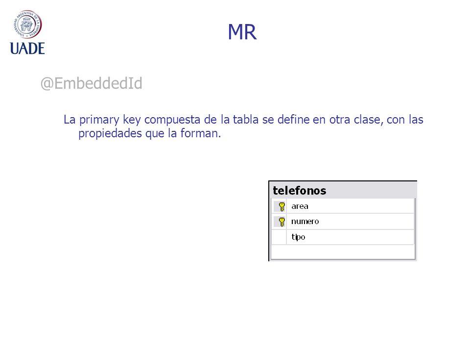 MR @EmbeddedId La primary key compuesta de la tabla se define en otra clase, con las propiedades que la forman.