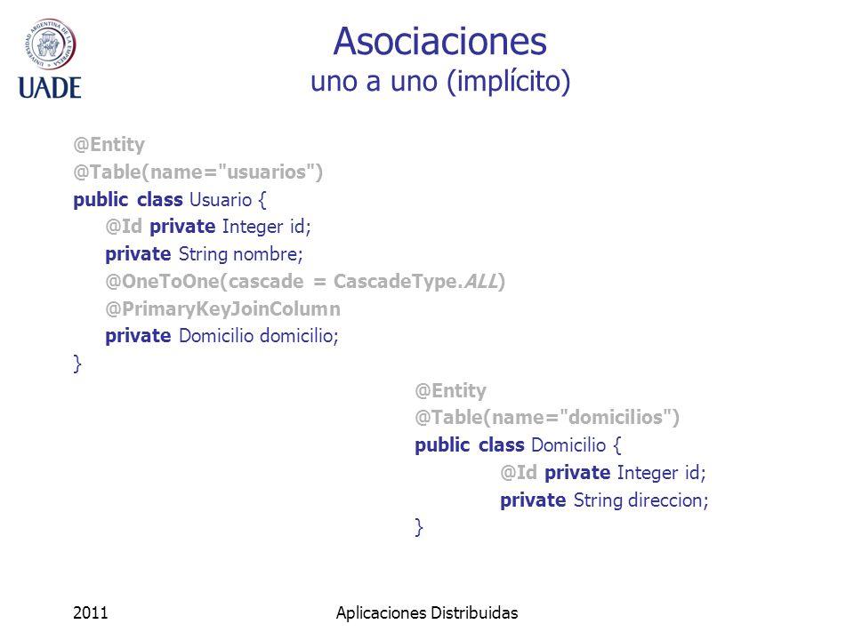 Asociaciones uno a uno (implícito) @Entity @Table(name=