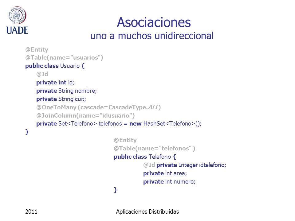 Asociaciones uno a muchos unidireccional @Entity @Table(name=