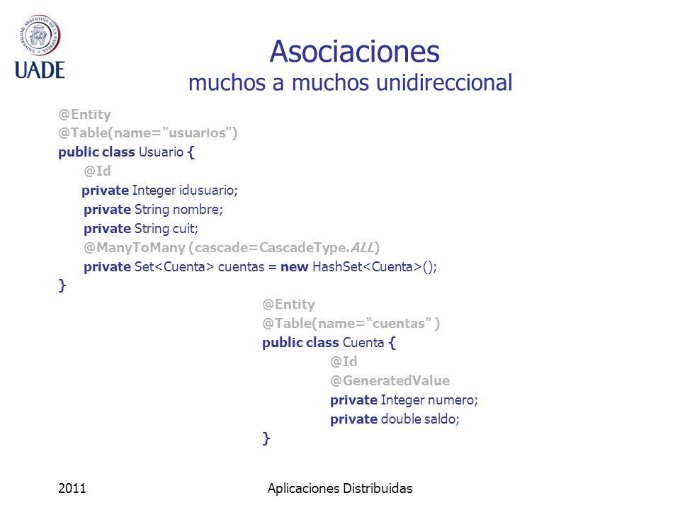 Asociaciones muchos a muchos unidireccional @Entity @Table(name=