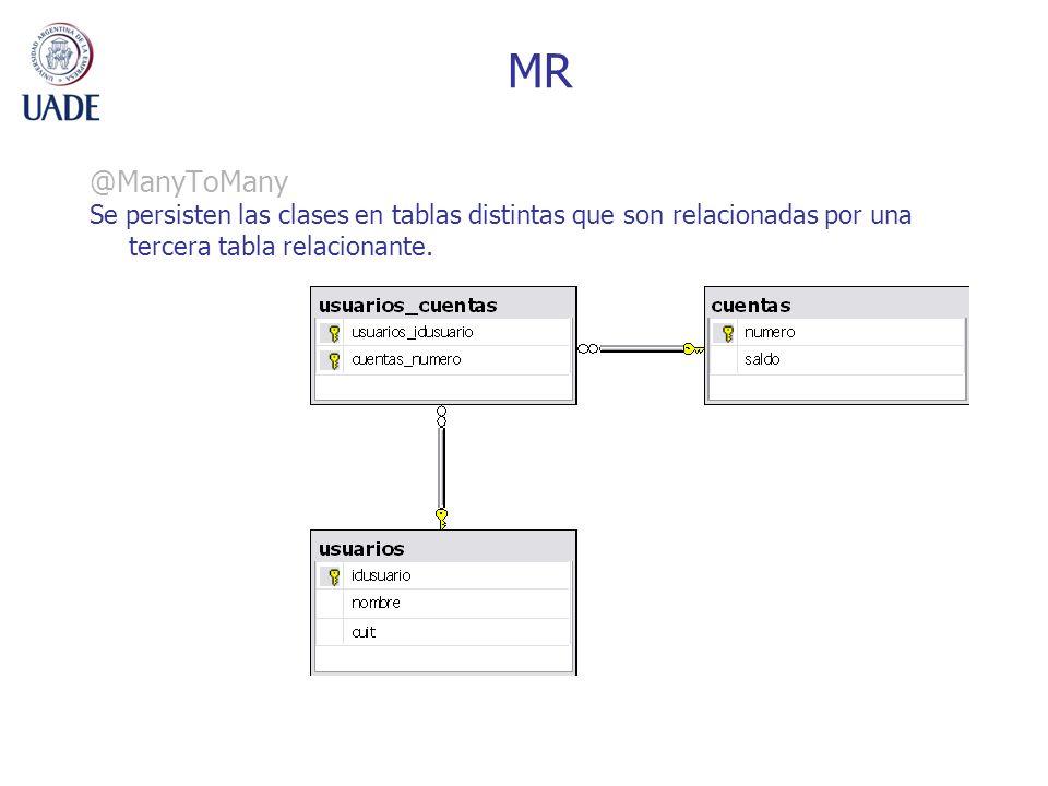 MR @ManyToMany Se persisten las clases en tablas distintas que son relacionadas por una tercera tabla relacionante.