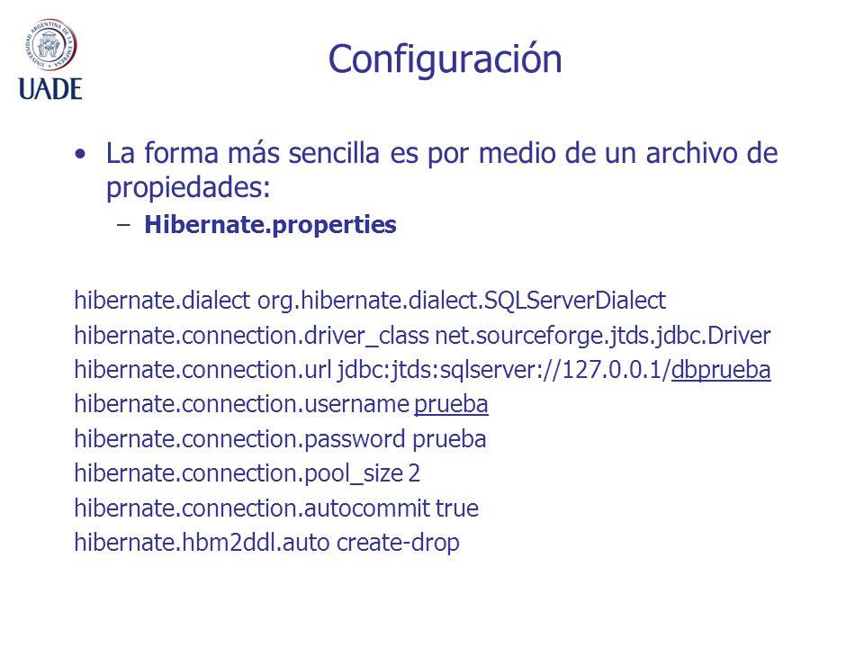 Configuración La forma más sencilla es por medio de un archivo de propiedades: –Hibernate.properties hibernate.dialect org.hibernate.dialect.SQLServer