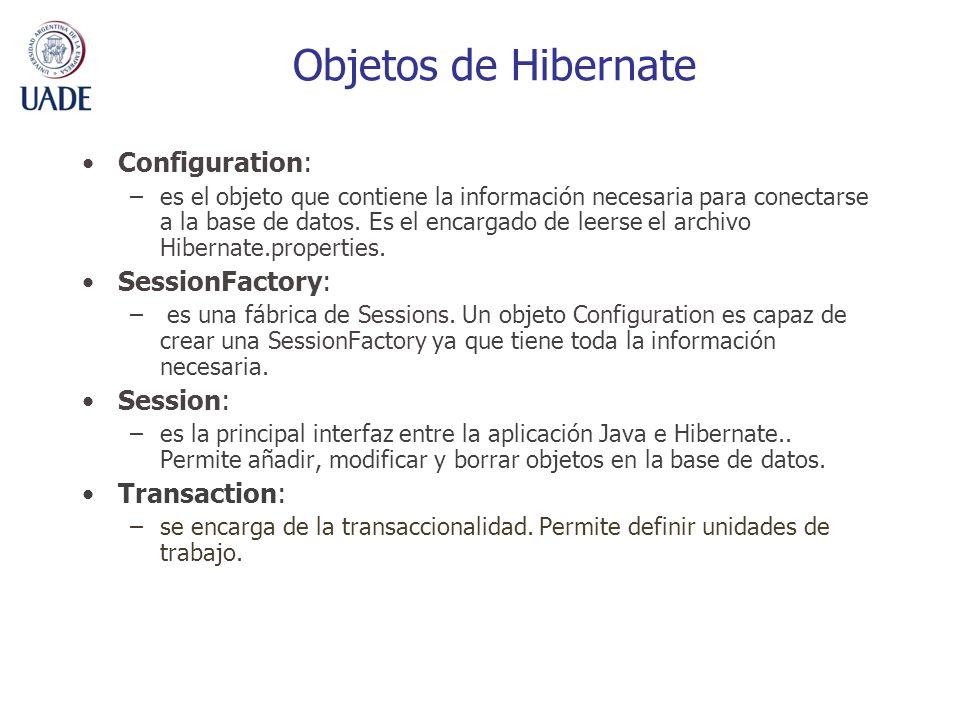 Objetos de Hibernate Configuration: –es el objeto que contiene la información necesaria para conectarse a la base de datos. Es el encargado de leerse