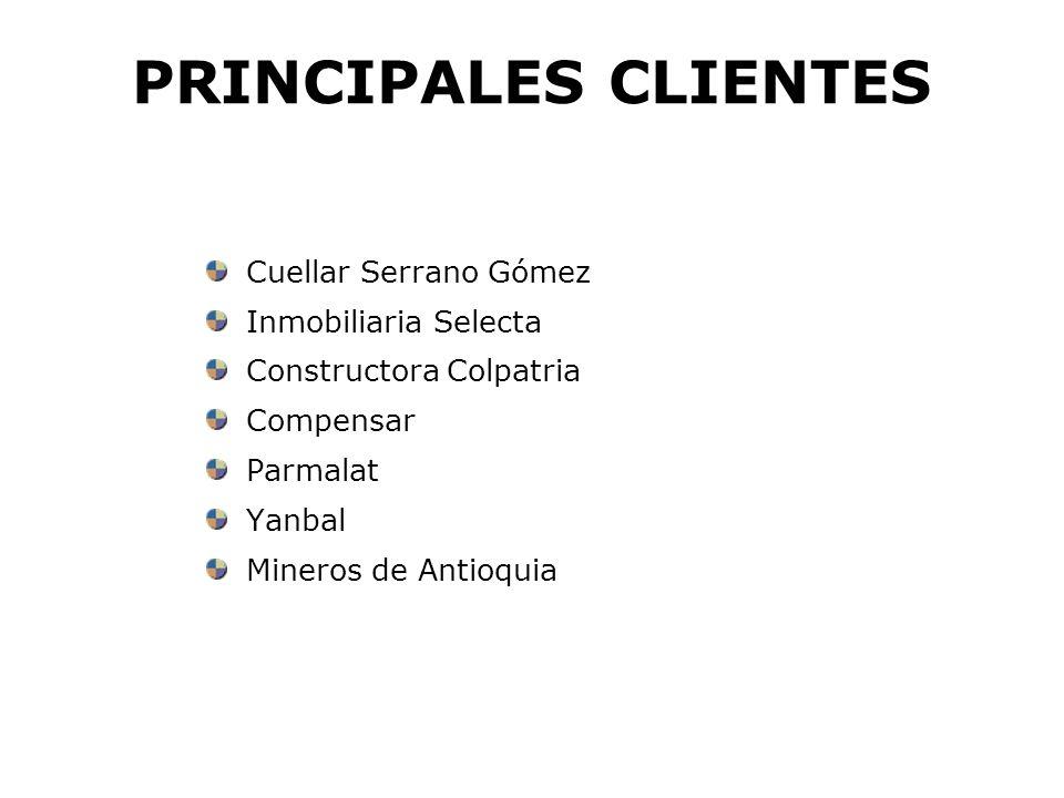 PRINCIPALES CLIENTES Colombia Telecomunicaciones Empresa de Teléfonos de Bogotá Banco de Occidente Multibanca Colpatr i a Unidad de Inversión Colpatria: Seguros y Capitalización, Seguros Generales, ARP, Salud.