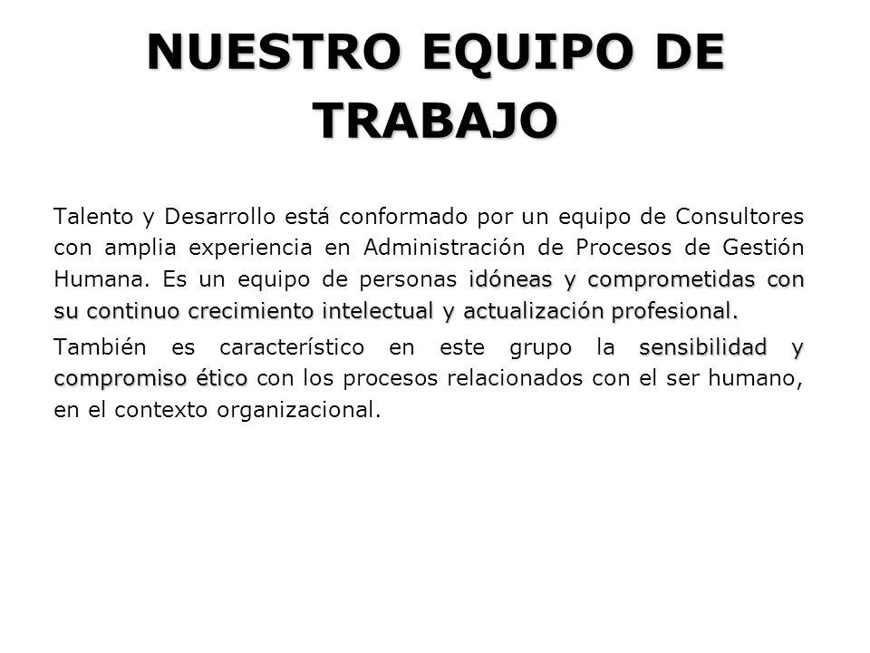 Este equipo es liderado por Ángela Elisa Molano Venegas, Psicóloga, Especialista en Gerencia de Recursos Humanos, Universidad de los Andes.