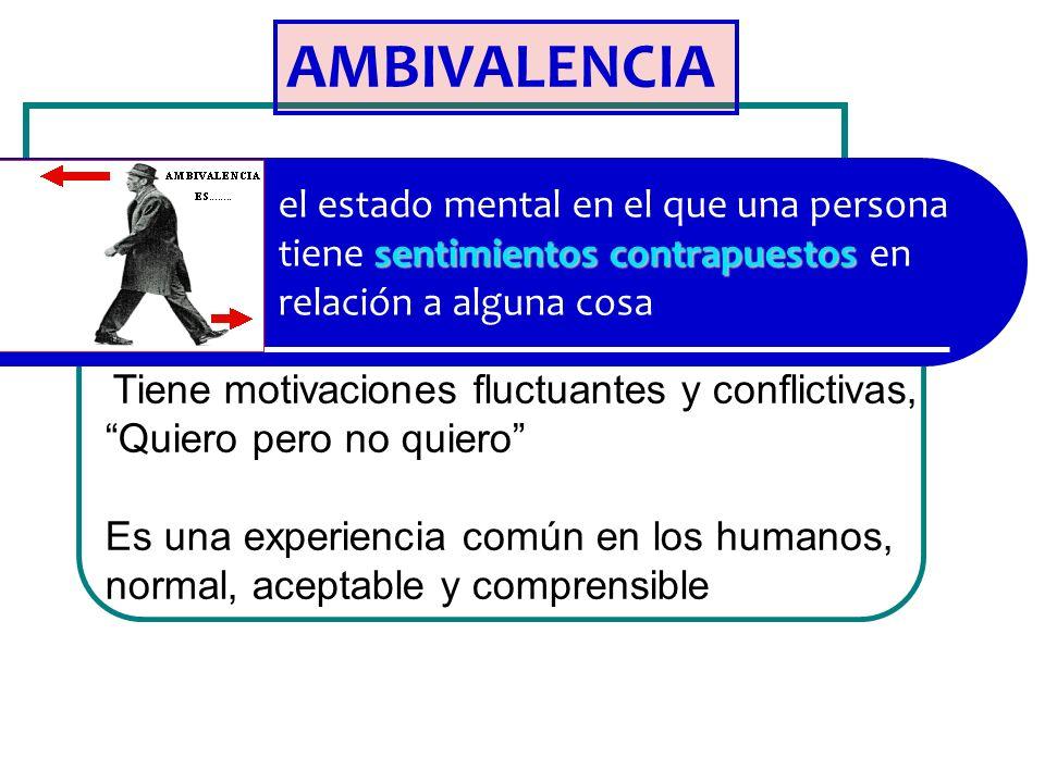 sentimientos contrapuestos el estado mental en el que una persona tiene sentimientos contrapuestos en relación a alguna cosa AMBIVALENCIA Tiene motiva
