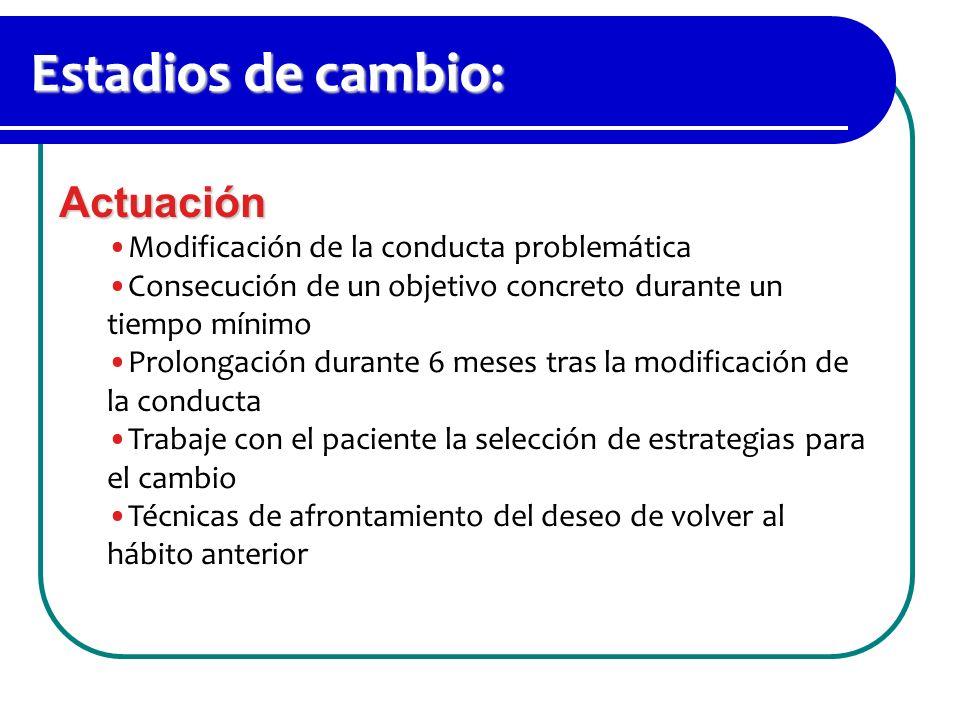 Estadios de cambio: Actuación Modificación de la conducta problemática Consecución de un objetivo concreto durante un tiempo mínimo Prolongación duran
