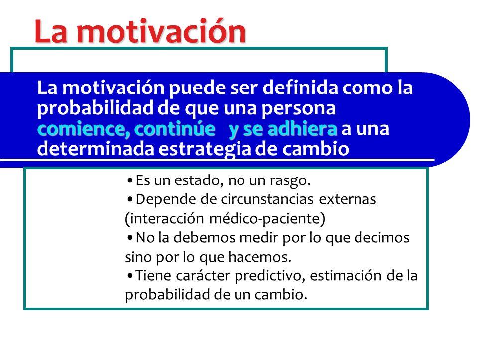 La motivación comience, continúe y se adhiera La motivación puede ser definida como la probabilidad de que una persona comience, continúe y se adhiera