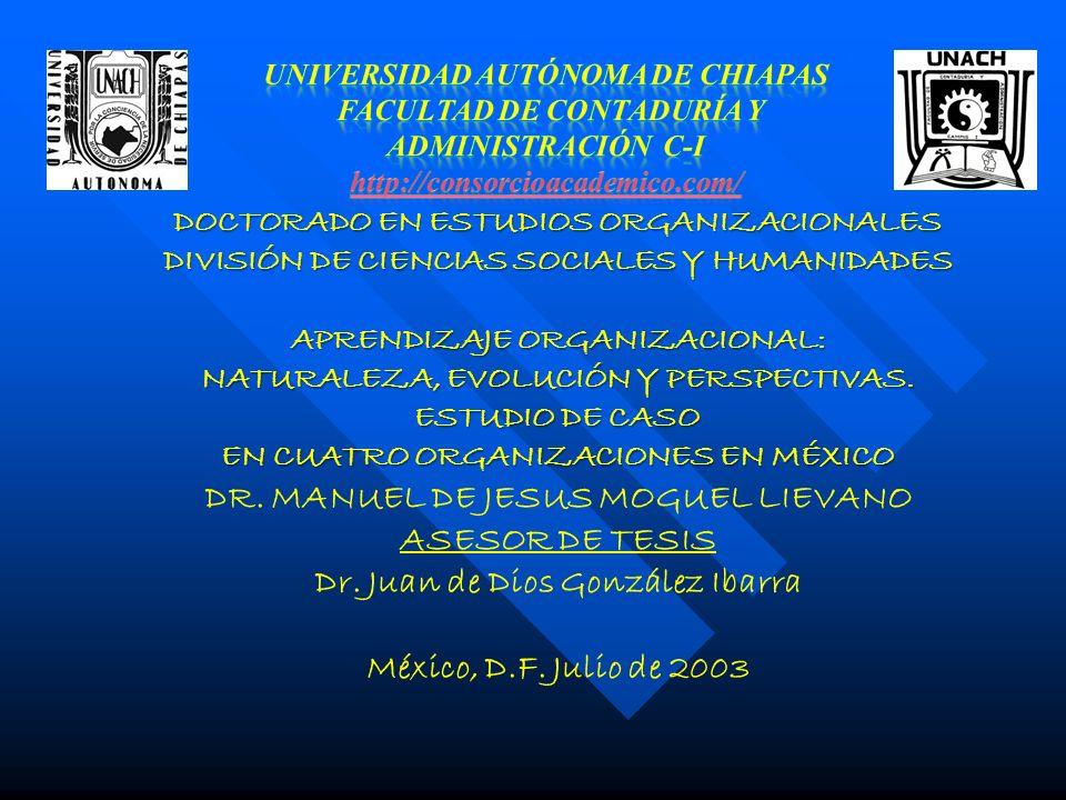DOCTORADO EN ESTUDIOS ORGANIZACIONALES DIVISIÓN DE CIENCIAS SOCIALES Y HUMANIDADES APRENDIZAJE ORGANIZACIONAL: NATURALEZA, EVOLUCIÓN Y PERSPECTIVAS. E