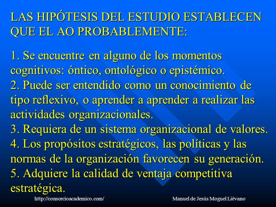 LAS HIPÓTESIS DEL ESTUDIO ESTABLECEN QUE EL AO PROBABLEMENTE: 1. Se encuentre en alguno de los momentos cognitivos: óntico, ontológico o epistémico. 2