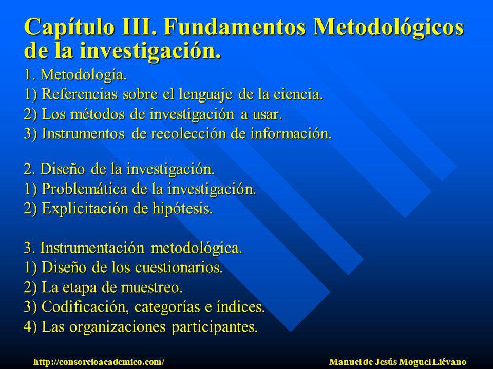 Capítulo III. Fundamentos Metodológicos de la investigación. 1. Metodología. 1) Referencias sobre el lenguaje de la ciencia. 2) Los métodos de investi