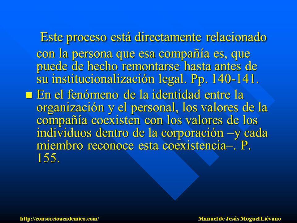 Este proceso está directamente relacionado con la persona que esa compañía es, que puede de hecho remontarse hasta antes de su institucionalización le