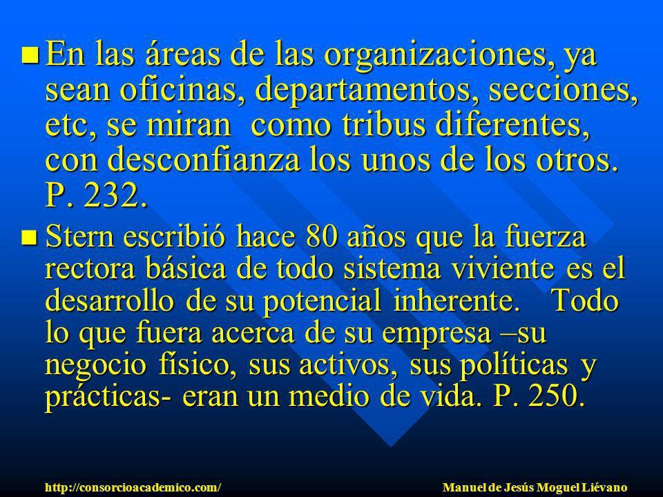 En las áreas de las organizaciones, ya sean oficinas, departamentos, secciones, etc, se miran como tribus diferentes, con desconfianza los unos de los
