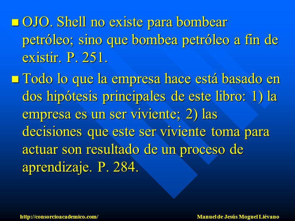 OJO. Shell no existe para bombear petróleo; sino que bombea petróleo a fin de existir. P. 251. OJO. Shell no existe para bombear petróleo; sino que bo