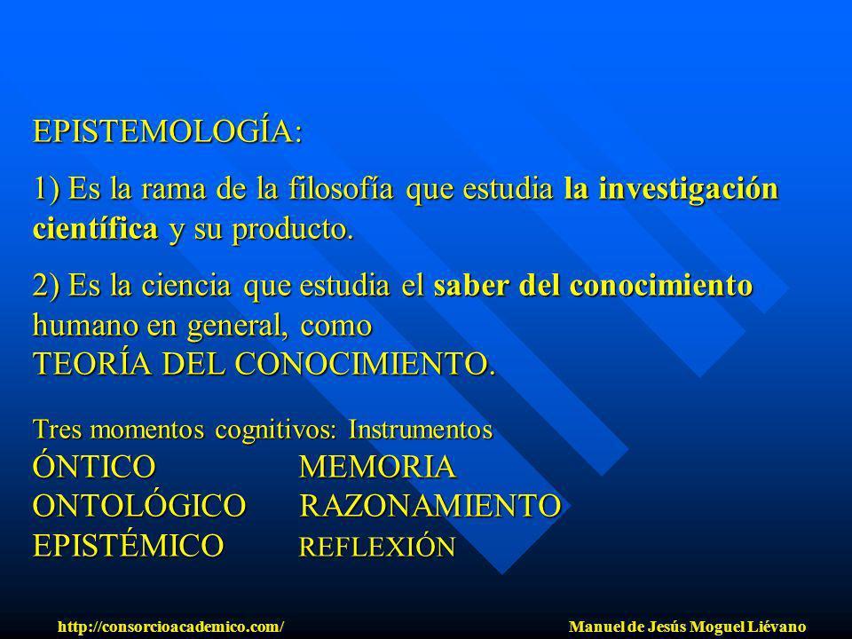 EPISTEMOLOGÍA: 1) Es la rama de la filosofía que estudia la investigación científica y su producto. 2) Es la ciencia que estudia el saber del conocimi