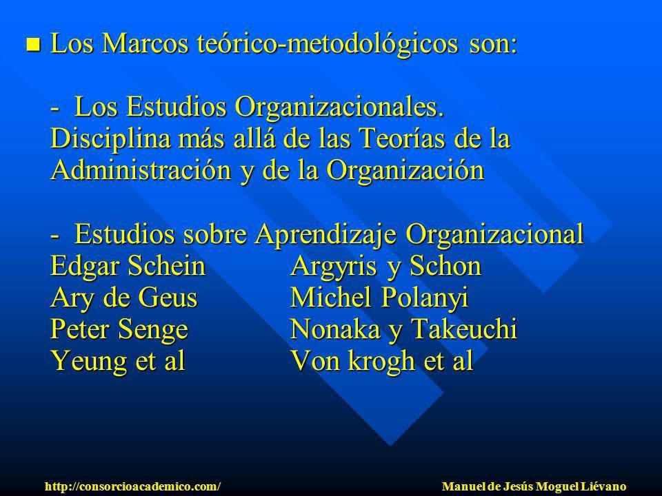 Los Marcos teórico-metodológicos son: - Los Estudios Organizacionales. Disciplina más allá de las Teorías de la Administración y de la Organización -