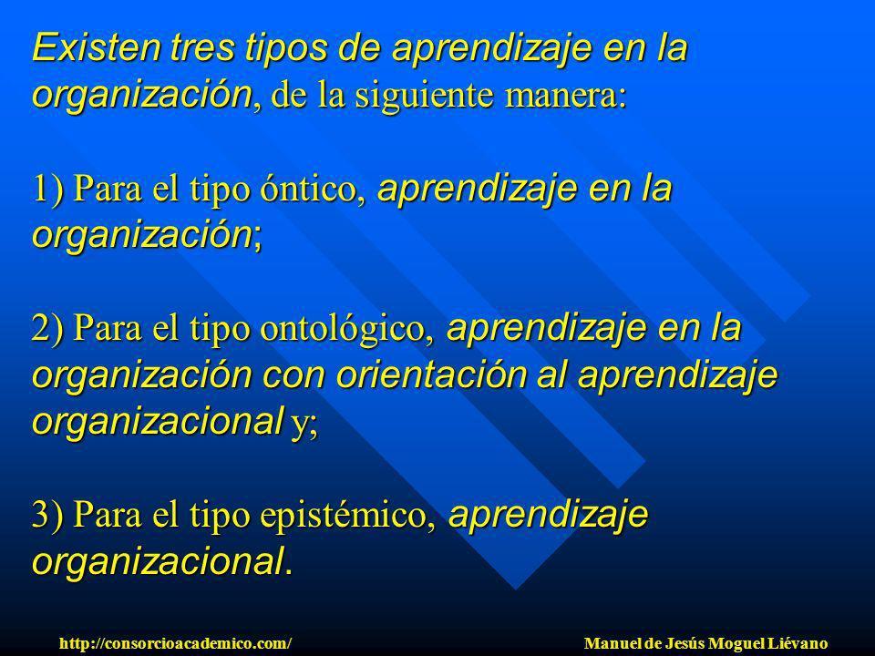 Existen tres tipos de aprendizaje en la organización, de la siguiente manera: 1) Para el tipo óntico, aprendizaje en la organización; 2) Para el tipo