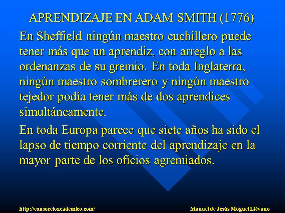APRENDIZAJE EN ADAM SMITH (1776) En Sheffield ningún maestro cuchillero puede tener más que un aprendiz, con arreglo a las ordenanzas de su gremio. En