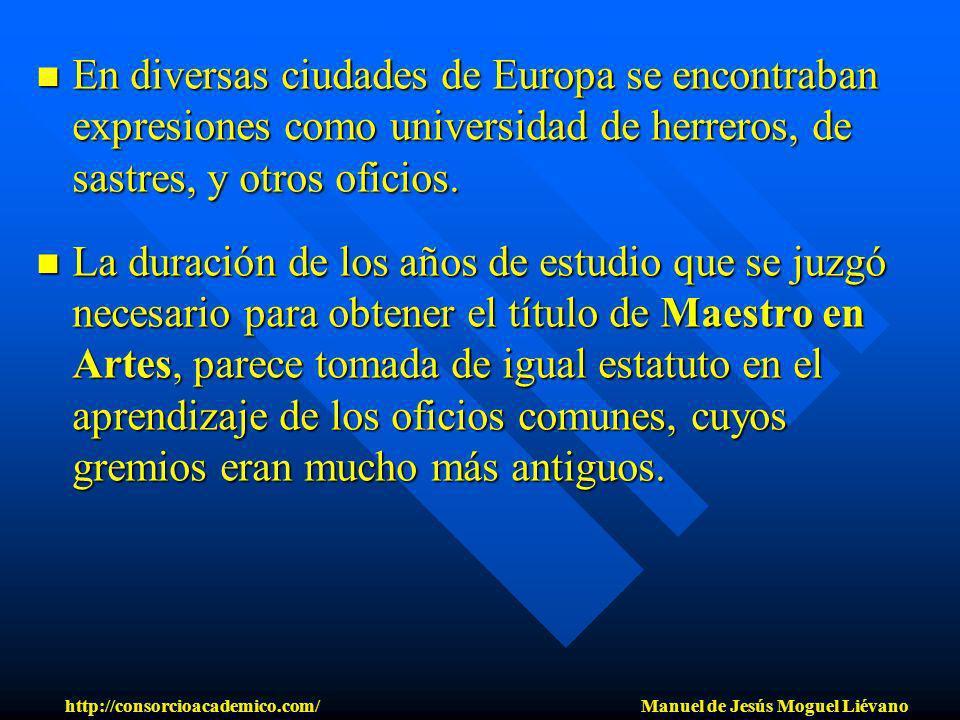 En diversas ciudades de Europa se encontraban expresiones como universidad de herreros, de sastres, y otros oficios. En diversas ciudades de Europa se