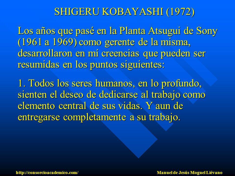 SHIGERU KOBAYASHI (1972) SHIGERU KOBAYASHI (1972) Los años que pasé en la Planta Atsugui de Sony (1961 a 1969) como gerente de la misma, desarrollaron