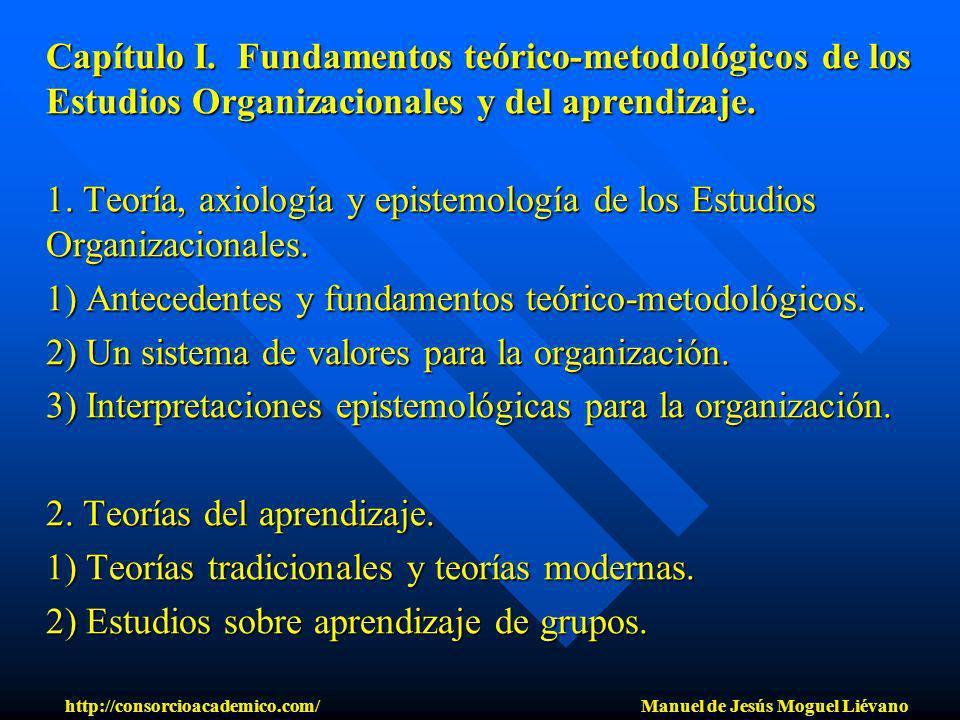 Capítulo I. Fundamentos teórico-metodológicos de los Estudios Organizacionales y del aprendizaje. 1. Teoría, axiología y epistemología de los Estudios
