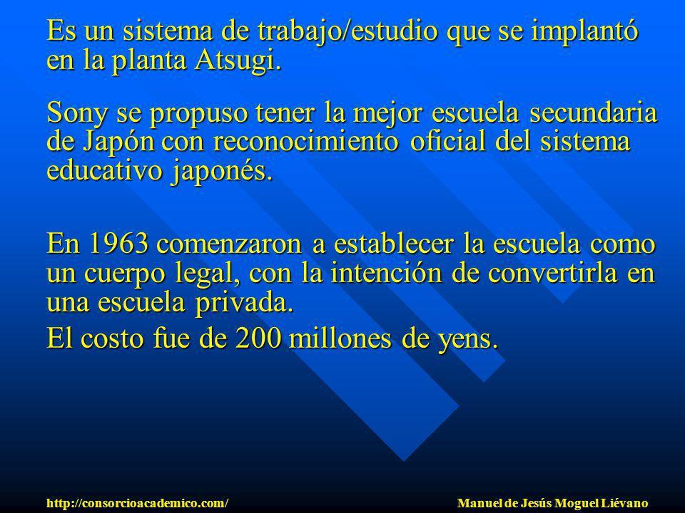 Es un sistema de trabajo/estudio que se implantó en la planta Atsugi. Sony se propuso tener la mejor escuela secundaria de Japón con reconocimiento of