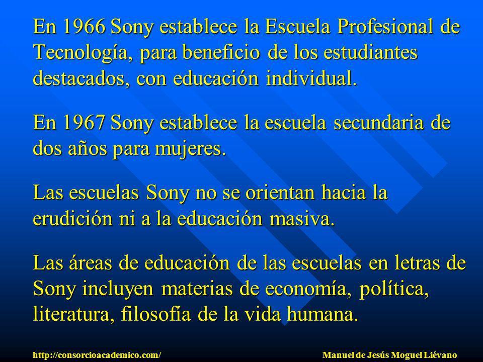 En 1966 Sony establece la Escuela Profesional de Tecnología, para beneficio de los estudiantes destacados, con educación individual. En 1967 Sony esta