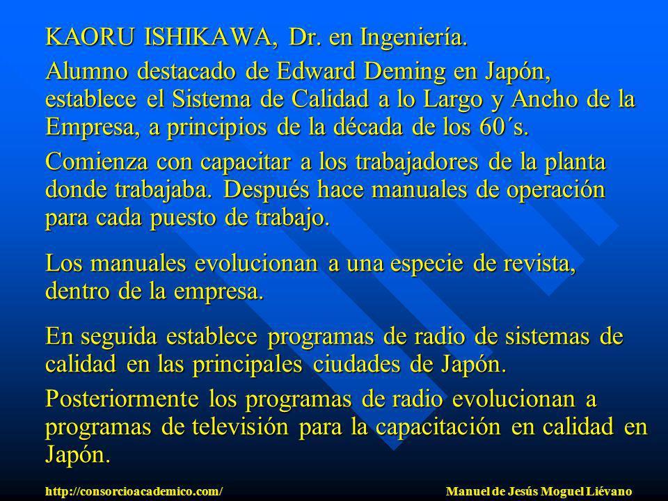 KAORU ISHIKAWA, Dr. en Ingeniería. Alumno destacado de Edward Deming en Japón, establece el Sistema de Calidad a lo Largo y Ancho de la Empresa, a pri