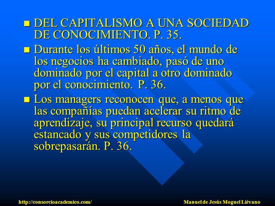 DEL CAPITALISMO A UNA SOCIEDAD DE CONOCIMIENTO. P. 35. DEL CAPITALISMO A UNA SOCIEDAD DE CONOCIMIENTO. P. 35. Durante los últimos 50 años, el mundo de