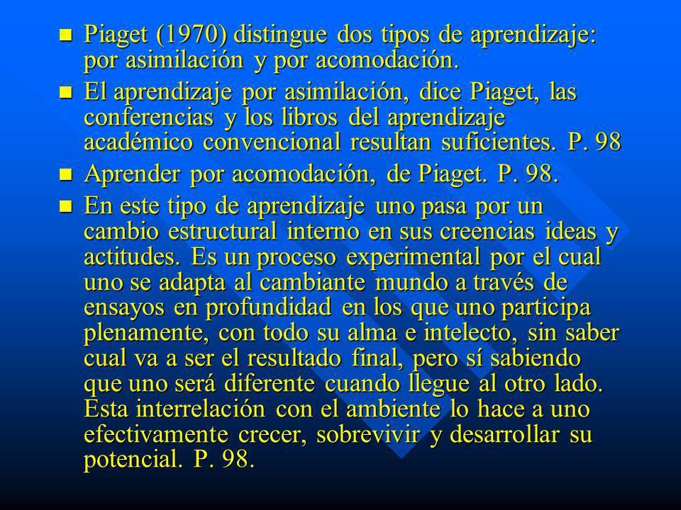 Piaget (1970) distingue dos tipos de aprendizaje: por asimilación y por acomodación. Piaget (1970) distingue dos tipos de aprendizaje: por asimilación