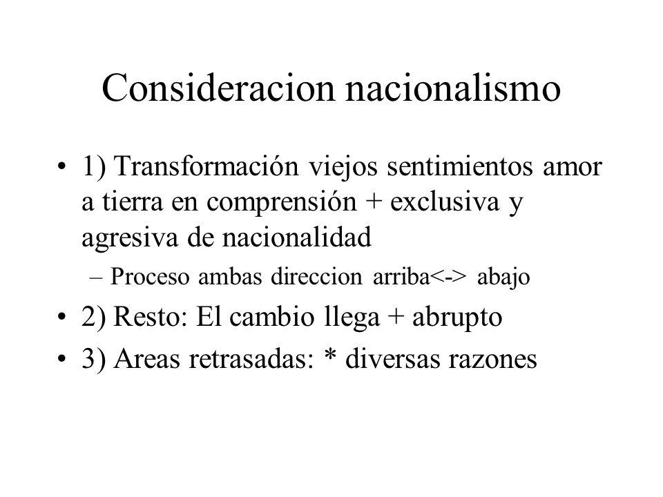 Consideracion nacionalismo 1) Transformación viejos sentimientos amor a tierra en comprensión + exclusiva y agresiva de nacionalidad –Proceso ambas di