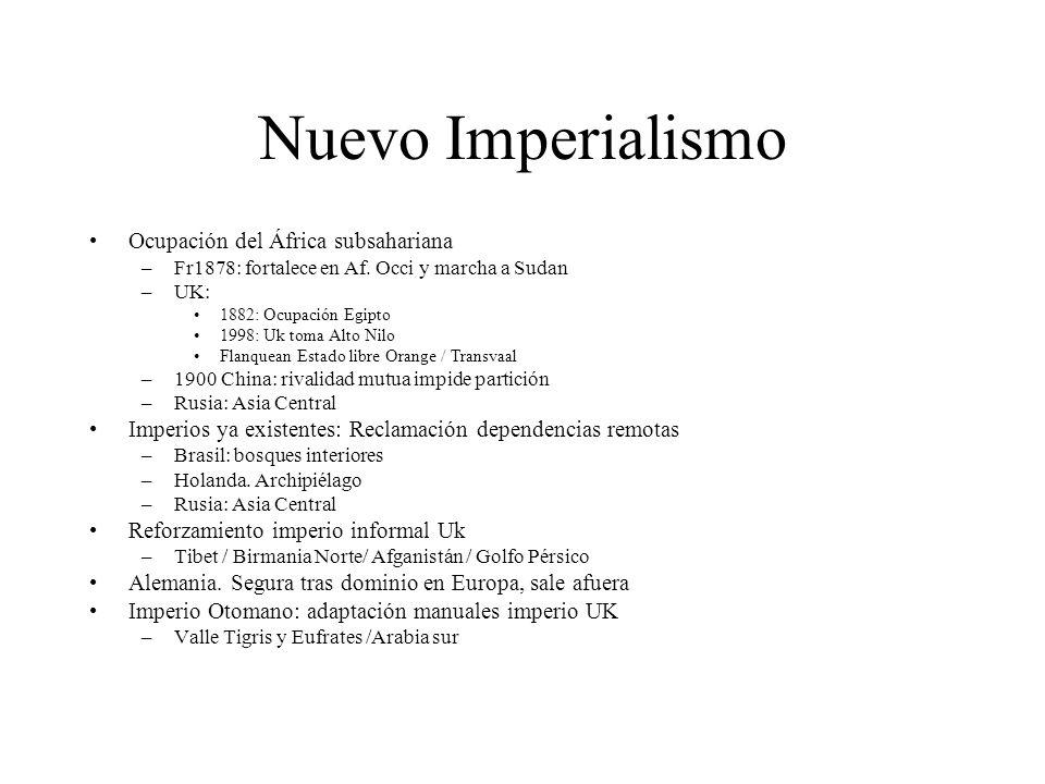 Nuevo Imperialismo Ocupación del África subsahariana –Fr1878: fortalece en Af. Occi y marcha a Sudan –UK: 1882: Ocupación Egipto 1998: Uk toma Alto Ni