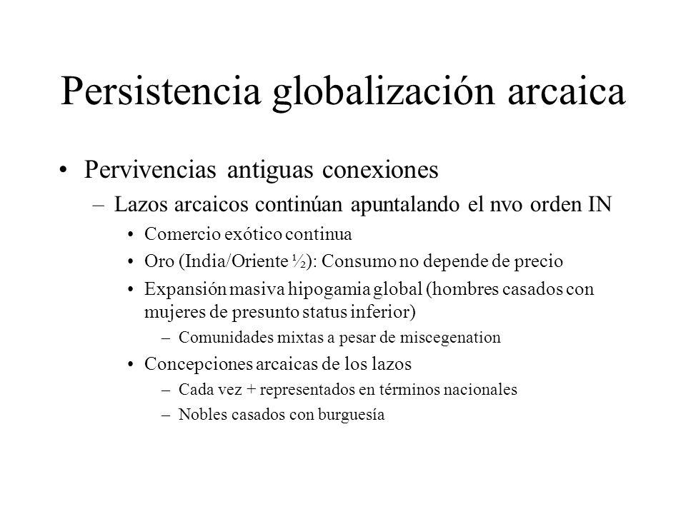 Persistencia globalización arcaica Pervivencias antiguas conexiones –Lazos arcaicos continúan apuntalando el nvo orden IN Comercio exótico continua Or