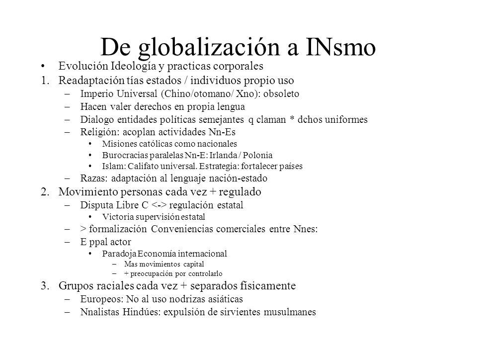 De globalización a INsmo Evolución Ideología y practicas corporales 1.Readaptación tías estados / individuos propio uso –Imperio Universal (Chino/otom