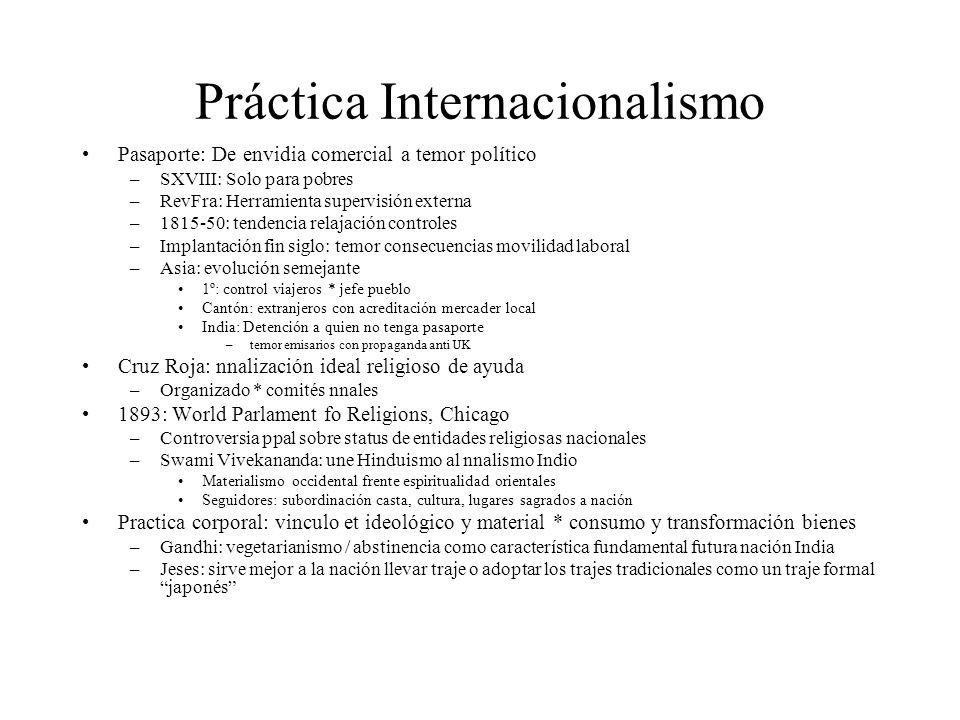 Práctica Internacionalismo Pasaporte: De envidia comercial a temor político –SXVIII: Solo para pobres –RevFra: Herramienta supervisión externa –1815-5