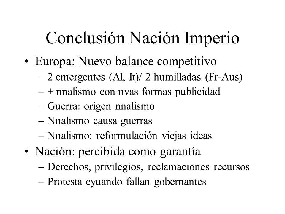 Conclusión Nación Imperio Europa: Nuevo balance competitivo –2 emergentes (Al, It)/ 2 humilladas (Fr-Aus) –+ nnalismo con nvas formas publicidad –Guer