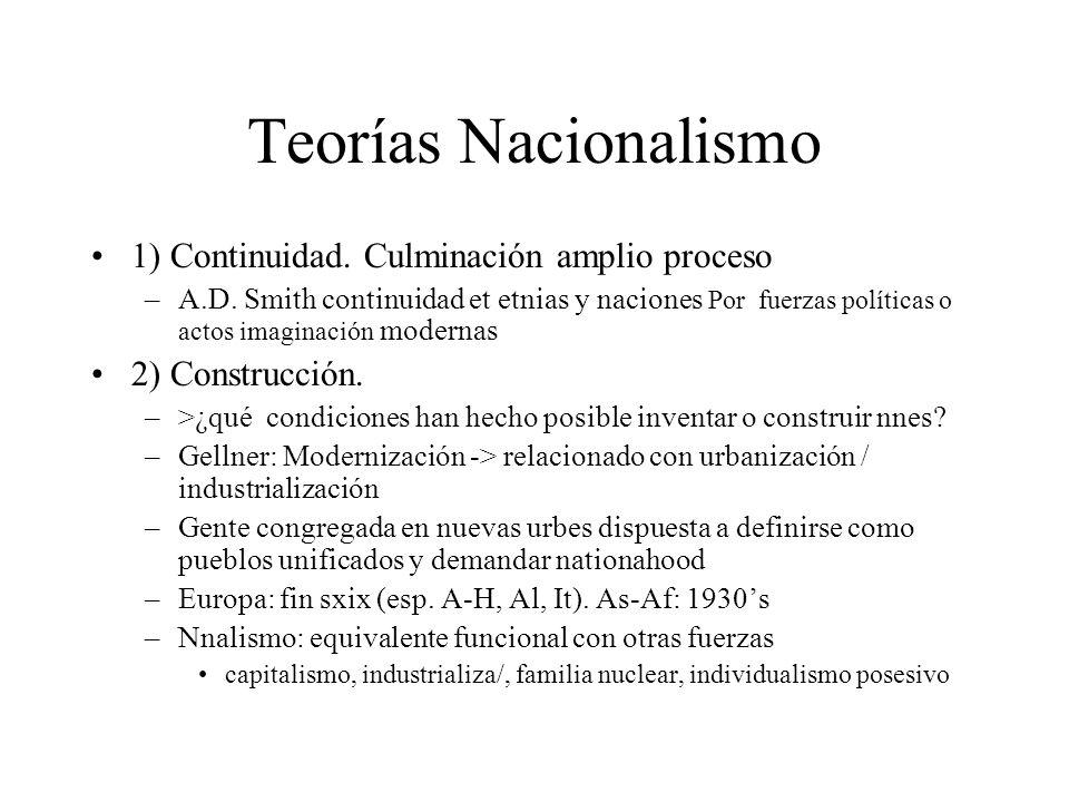 Teorías Nacionalismo 1) Continuidad. Culminación amplio proceso –A.D. Smith continuidad et etnias y naciones Por fuerzas políticas o actos imaginación