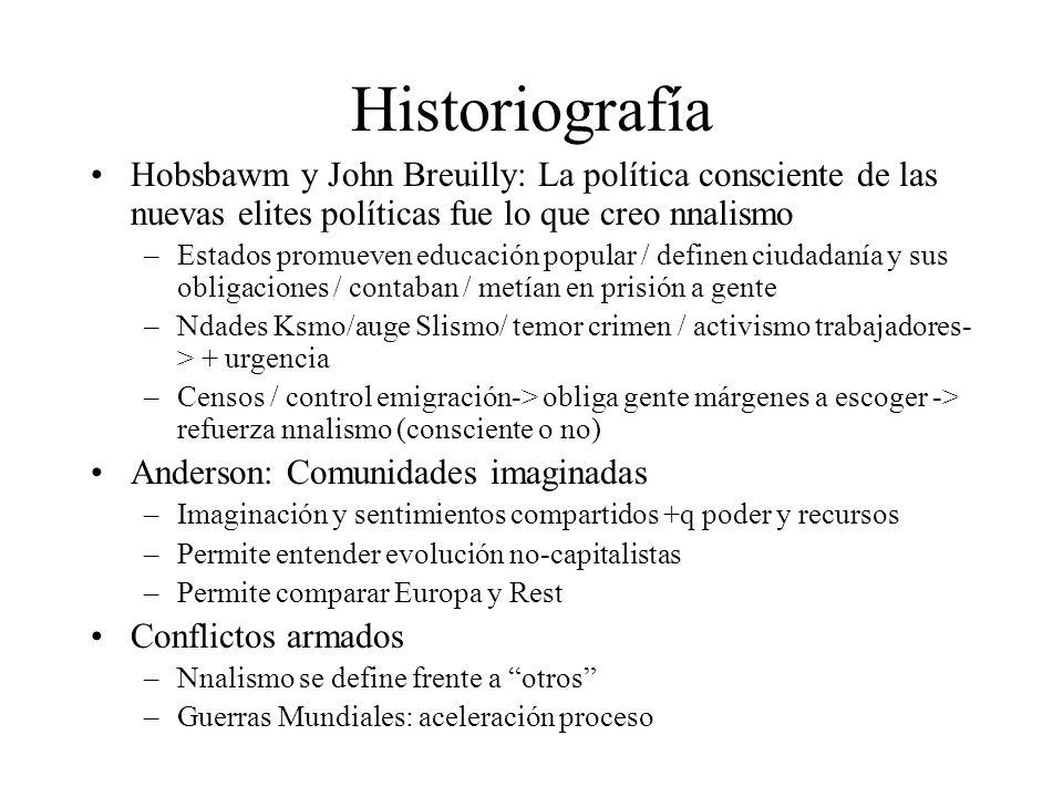 Historiografía Hobsbawm y John Breuilly: La política consciente de las nuevas elites políticas fue lo que creo nnalismo –Estados promueven educación p