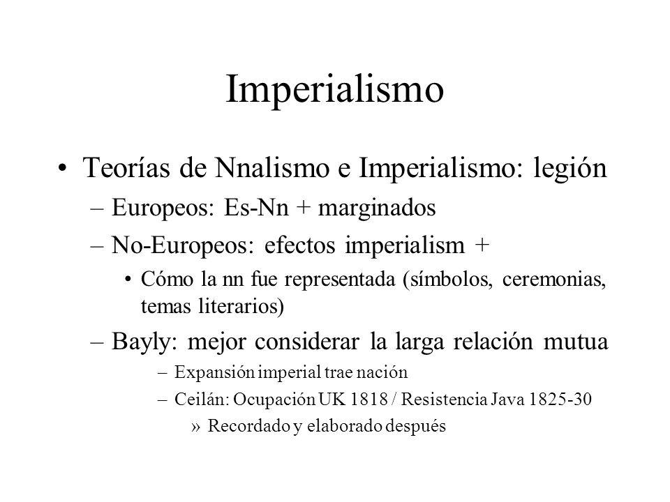 Imperialismo Teorías de Nnalismo e Imperialismo: legión –Europeos: Es-Nn + marginados –No-Europeos: efectos imperialism + Cómo la nn fue representada