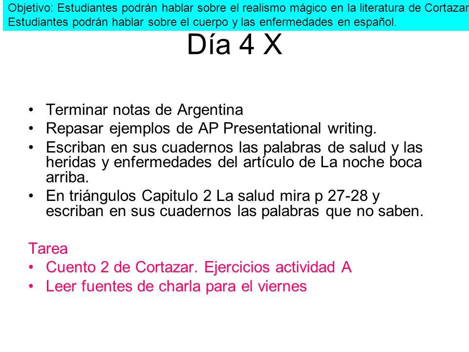 Día 4 X Terminar notas de Argentina Repasar ejemplos de AP Presentational writing. Escriban en sus cuadernos las palabras de salud y las heridas y enf