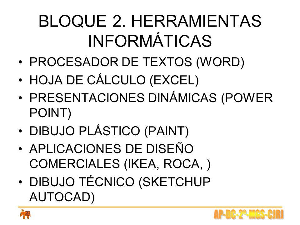 BLOQUE 2. HERRAMIENTAS INFORMÁTICAS PROCESADOR DE TEXTOS (WORD) HOJA DE CÁLCULO (EXCEL) PRESENTACIONES DINÁMICAS (POWER POINT) DIBUJO PLÁSTICO (PAINT)