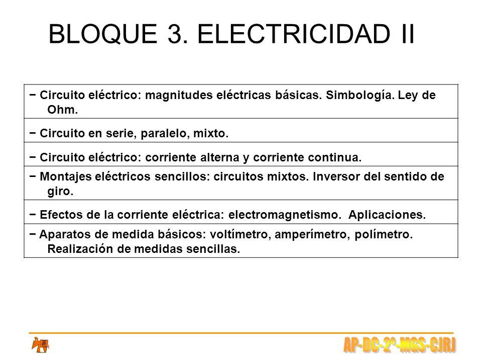BLOQUE 3. ELECTRICIDAD II Circuito eléctrico: magnitudes eléctricas básicas. Simbología. Ley de Ohm. Circuito en serie, paralelo, mixto. Circuito eléc
